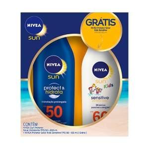 [NetFarma] Protetor Solar Nivea Sun FPS 50 + Protetor Solar Nivea Sun Kids Sensitive & Pure FPS 60, 125ml - R$32