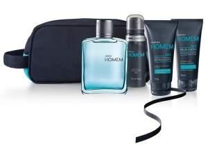 [Natura] Presente Natura Homem - Desodorante Colônia + Creme de Barbear + Balm-loção + Desodorante Aerossol + Nécessaire + Embalagem Desmontada R$ 144