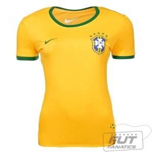 [Fut Fanatics] Camiseta Nike Brasil CBF Core Ringer 2014 Feminina por R$ 47