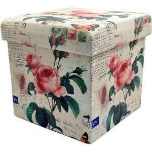 [SOU BARATO] Puff Retangular Baú Tecido Estampado Flores - Imporiente - R$ 47,90