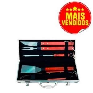 Kit Churrasco 6 peças em Aço Inox com cabo em Madeira (Espátula + Garfo + Faca + Pegador Pinça + Chaira Afiador) em maleta de alumínio
