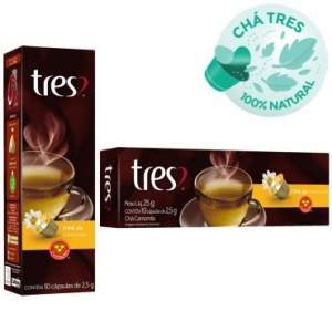 [Ricardo Eletro] Cápsula de chá de Camomila 10x2,5g - Tres - R$8,40