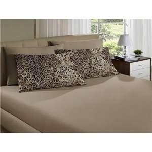 [Ponto Frio] Jogo de Cama Queen Home Leopardo Trigo 3 Peças Malha Fio 30/1 Penteado 100% Algodão Portallar - Bege médio por R$ 40