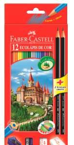 [Saraiva] Lápis de Cor Sextavado Faber Castell 12 Cores + 02 Lápis Preto + Acessórios de Brinde - R$13