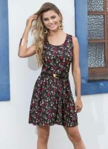 [Posthaus] Vestido Evasê com Decote Redondo Estampado R$19,99