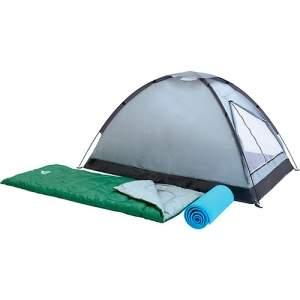 [Shoptime] Kit Camping Campak: Barraca de Camping 2 Pessoas + 2 Sacos de Dormir 180x75cm + 2 Colchonetes 190x50x6cm - Pavillo R$134,10