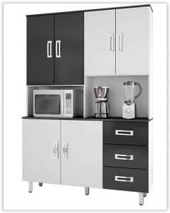 [Shoptime] Cozinha Completa Poliman Móveis Kairos Branco/Preto por R$ 225