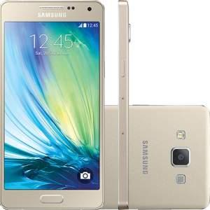 """[Shoptime] Smartphone Samsung Galaxy A5 Duos Dual Chip Desbloqueado Android 4.4 Tela 5"""" 16GB 4G Wi-Fi Câmera 13MP - Dourado por R$ 890"""