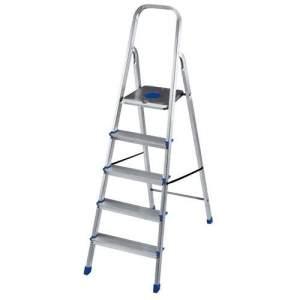 [Extra] Escada Mor 5103 em Alumínio c/ 5 Degraus e Fita de Segurança por R$ 85
