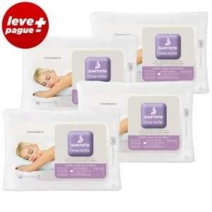 [Insinuante] Kit Promocional 4 Travesseiros Boa Noite: Tecnologia com Toque Massageador em Fibra Siliconizada - Santista por R$ 45