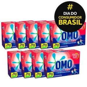 [Ricardo Eletro] Kit 9 unidades - Detergente em Pó OMO MULTIAÇÃO 2KG R$122