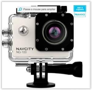 [Voltou-Submarino] Câmera Esportiva Navcity Prata 12MP Filmagem Full HD 30M à Prova d'água + Selfie Stick por R$ 179