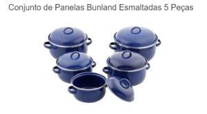 [SOU BARATO] Conjunto de Panelas Bunland Esmaltadas 5 Peças - R$89,91 COM O CUPOM DESCONTO10