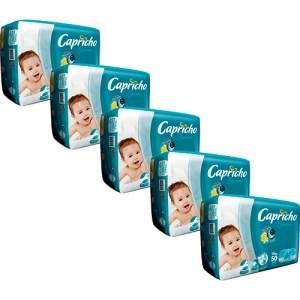 [Shoptime] Kit 5 Fraldas Capricho Bummis Mega M (250 Unidades) - R$100