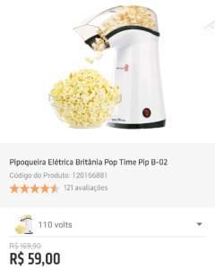[Shoptime] Pipoqueira Elétrica Britânia por R$ 60
