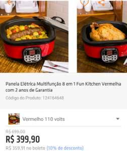 [Shoptime] Panela Elétrica Multifunção 8 em 1 Fun Kitchen Vermelha -  2 anos de garantia  por R$ 360