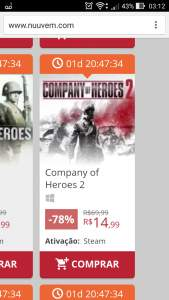 [Nuuvem] Company of Heroes 2  KEY STEAM 78% OFF por R$ 15