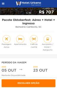 [Hotel Urbano]  Pacote Oktoberfest: Aéreo + Hotel + Ingresso:  Balneário Camboriú, SC