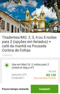 [Groupon] Tiradentes/MG: 2, 3, 4 ou 5 noites para 2 (opções em feriados) + café da manhã na Pousada Cortina de Folhas