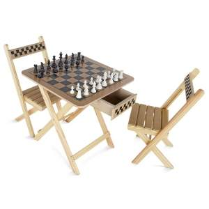[ShopFato] Mesa de Xadrez Carlu 2 Cadeiras em MDF por R$ 145