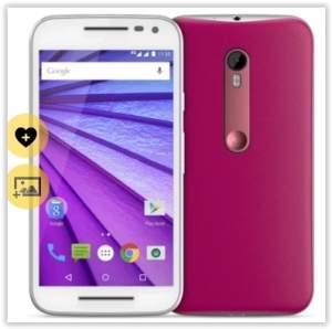"""[Voltou- Saraiva] Smartphone Motorola Moto G 3ª Geração Branco e Pink 4G Tela 5"""" Android 5 Câmera 13Mp Dualchip 16Gb por R$ 809"""