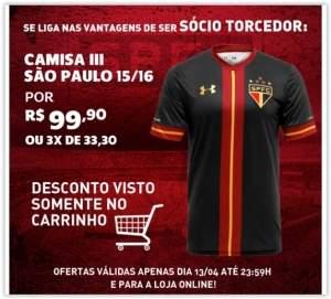 [Voltou- São Paulo Mania] Camisa Under Armour São Paulo Goleiro III 15/16 s/nº por R$ 100