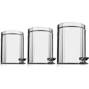 [Walmart] Kit de Lixeiras Inox Mainstays Premier com 3 Unidades por R$ 60
