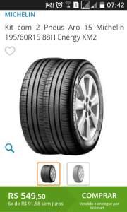 [Walmart] Kit com 2 Pneus Aro 15 Michelin 195/60R15 88H Energy XM2 por R$549