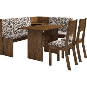 [Shoptime] Conjunto Mesa de Canto Kamy com Banco e 2 Cadeiras Avelã/Arabesco - Viero Móveis por R$ 292