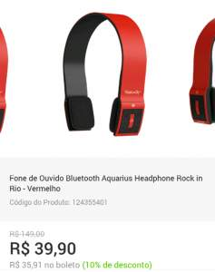[Shoptime] Fone de Ouvido Bluetooth Aquarius Headphone Rock in Rio