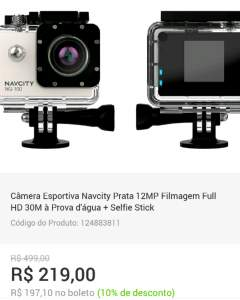 [Submarino] Câmera Esportiva Navcity Prata 12MP Filmagem Full HD 30M à Prova d'água + Selfie Stick - R$219