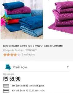 [Shoptime] Jogo de Super Banho Tati 5 Peças - Casa & Conforto