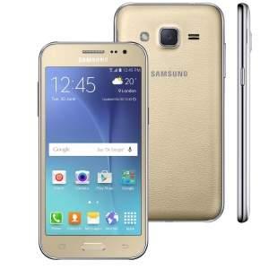 """[Casas Bahia] Smartphone Samsung Galaxy J2 TV Duos Dourado com Dual chip, Tela 4.7"""", TV Digital, 4G, Câmera 5MP, Android 5.1 e Processador Quad Core de 1.1 Ghz - R$699"""