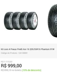 Kit com 4 Pneus Pirelli Aro 16 205/55R16 Phantom 91W