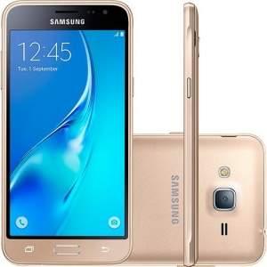 [Americanas] Smartphone Samsung Galaxy J3 Dual Chip Desbloqueado Android 5.1 Tela 5'' 8GB 4G Wi-Fi Câmera 8MP - Dourado - R$629