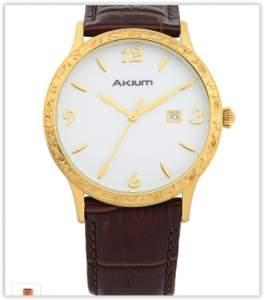 [Vivara] Relógio Akium Masculino Couro Marrom - 1W98G-03-GOLD por R$ 125