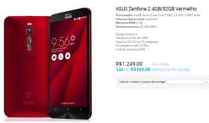 [LOJA ASUS] ASUS Zenfone 2 Vermelho 4GB RAM, 32GB armazenamento, Intel® Atom Quad Core Z3580 2,3 GHz - R$1149