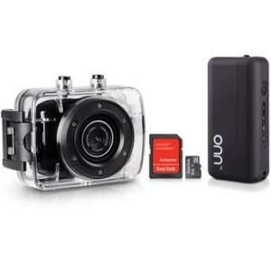 """[Walmart] Câmera e Filmadora ONN 5 MP LCD 2"""" HD Preta + Cartão de Memória SanDisk Micro SD 8GB + Carregador Portátil ONN 2600mAh Preto por R$ 109"""