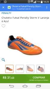 [Walmart] Chuteira Futsal Penalty Storm V Laranja e Azul por R$ 32