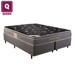 [Ecolchao] Cama Box Queen Size Herval + Colchão Millenium Black Bambu  Mola Ensacada 58cm 158x198cm - por R$999