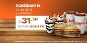 [Bobs] 2 Cheddar M + 2 Refris M + 2 Sundaes por R$ 32!