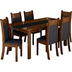 [SUBMARINO] Conjunto de Mesa de Jantar Veneza + 6 Cadeiras Veneza Preto/Imbuia - Madesa  - R$700
