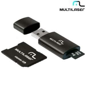 [KANGOOLU] Pendrive 3 em 1 Multilaser 8GB - Micro SD, Cartão SD e Pendrive - R$14