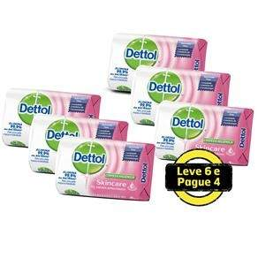 [Extra] Sabonete em Barra Dettol Antibacteriano Skincare 80g - 6 Unidades - R$8