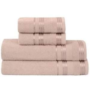 [RICARDO ELETRO] Jogo de Banho 4 peças Toalhas 100% Algodão 360 g/m² Linha Delicata Lisa Pedra - Atlântica - R$30