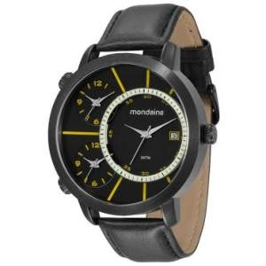 [RICARDO ELETRO] Relógio Masculino Mondaine, Analógico, Pulseira de Couro, Caixa de 5,5 cm, Resistente à Água 3 ATM - 76423GPMVPH2 - R$83