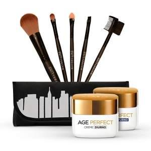 [NETFARMA} KIT Creme Anti-idade L`Oréal Paris Age Perfect Diurno 49g + Creme Facial Noturno L`Oréal Paris Age Perfect Noturno 49g + KIT DE PINCÉIS MAYBELLINE. - R$107