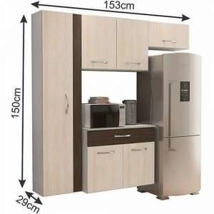 [Shoptime] Cozinha Compacta CBM Karen 4 Peças: Paneleiro, Aéreo, Armário Geladeira e Balcão por R$ 225