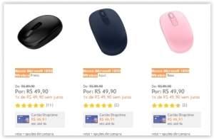 [Shoptime] Mouse Microsoft 1850 Wireless Preto/AZul/Rosa/Pink por R$ 50