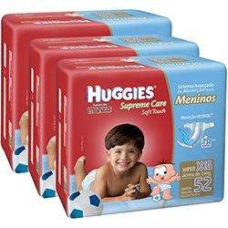 [Americanas] Kit 3 Fraldas Huggies Supreme Care Menino ou Menina - por R$105 (no boleto)